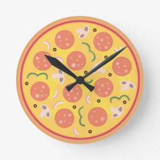 Amantes coloridos de la pizza de salchichones reloj redondo mediano