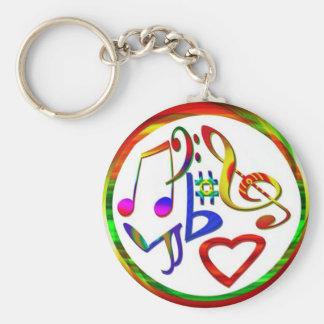 Amantes de la música llavero redondo tipo pin