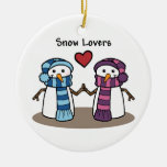 Amantes de la nieve ornaments para arbol de navidad