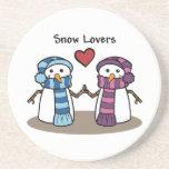 Amantes de la nieve posavasos para bebidas