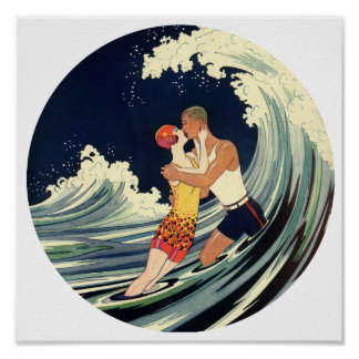 Amantes de la persona que practica surf que besan  póster