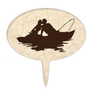 Amantes de la pesca del vintage de Brown Decoraciones De Tartas
