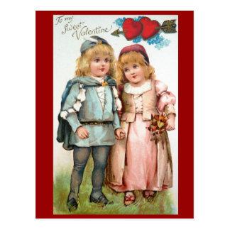 Amantes de la postal de la antigüedad de la tarjet