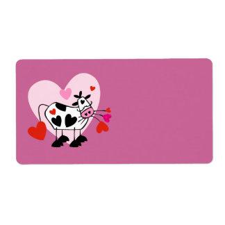 Amantes de la vaca etiqueta de envío