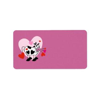 Amantes de la vaca etiquetas de dirección