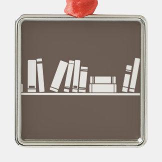 ¡Amantes de libros! Adorno Navideño Cuadrado De Metal