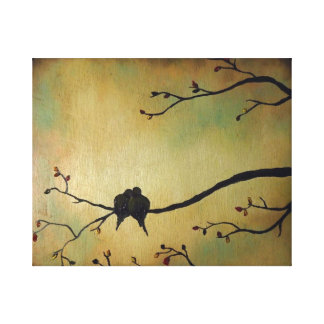Amantes de los pájaros impresión en lona estirada