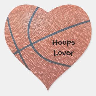 Amantes de los texture_Hoops de Spirit_Basketball Pegatina En Forma De Corazón