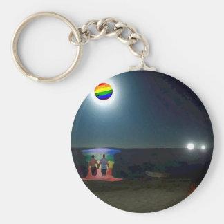 Amantes debajo de la luna del orgullo gay llavero redondo tipo pin