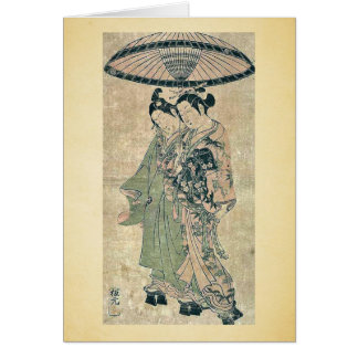 Amantes debajo de un paraguas por Ishikawa, Toyono Tarjeta