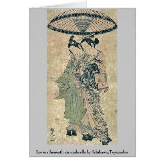 Amantes debajo de un paraguas por Ishikawa, Toyono Felicitación