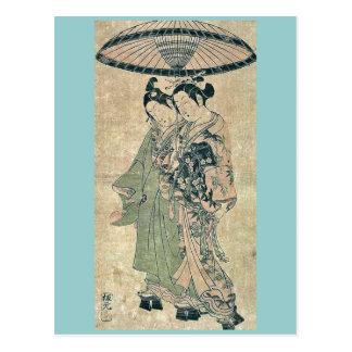 Amantes debajo de un paraguas por Ishikawa, Toyono Postal