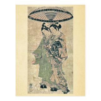 Amantes debajo de un paraguas por Ishikawa, Toyono Tarjetas Postales