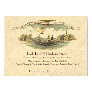 Amantes del barco del vintage que casan la invitación 12,7 x 17,8 cm