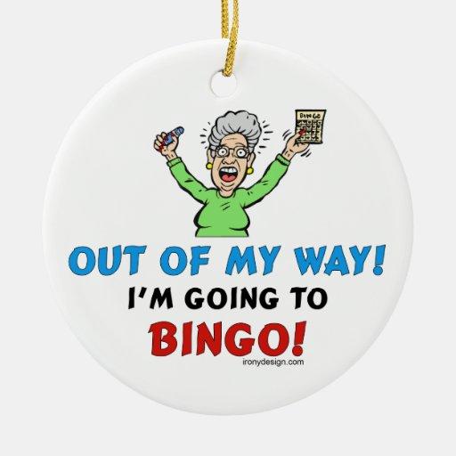 Amantes del bingo adorno navideño redondo de cerámica