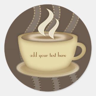 Amantes del café pegatina redonda