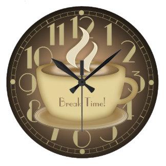 Amantes del café personalizados reloj redondo grande