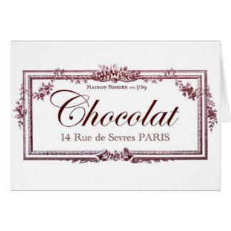 Amantes del chocolate… ame este arte del francés tarjeta