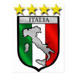 amantes del fútbol del mapa de Italia de la bander Tarjeta Postal