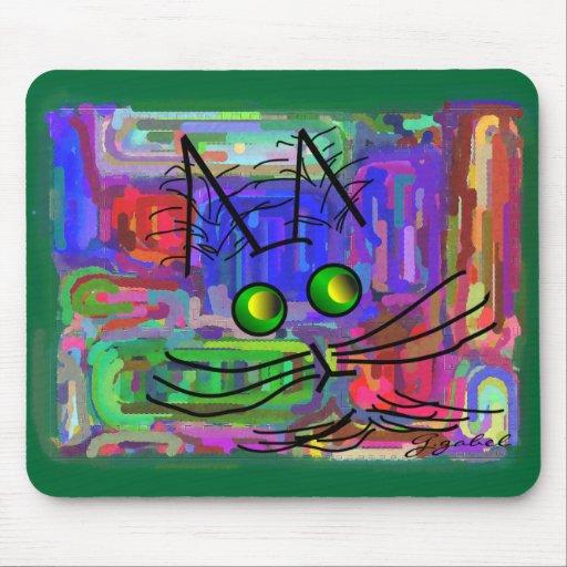 """Amantes del gato arte """"del gato abstracto curioso"""" alfombrillas de ratones"""