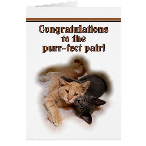 Amantes del gato que casan la tarjeta de la enhora