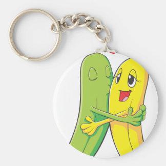 Amantes del plátano llavero redondo tipo pin