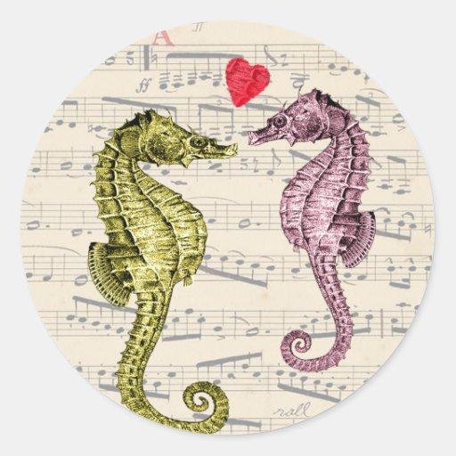 Amantes del Seahorse en notas musicales con el Pegatina Redonda