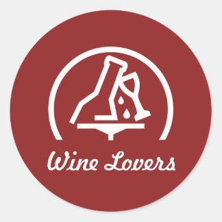 Amantes del vino pegatina redonda
