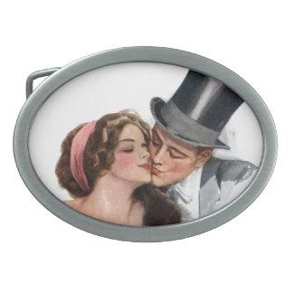 Amantes del vintage hebilla cinturon oval