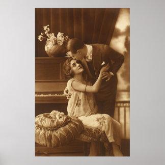 Amantes del vintage música romántica romántica de posters