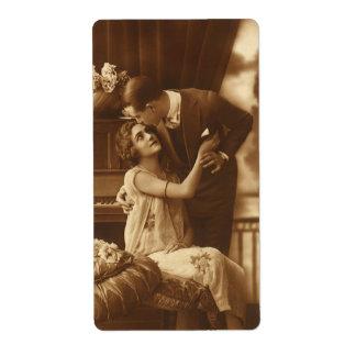 Amantes del vintage, música romántica romántica etiqueta de envío