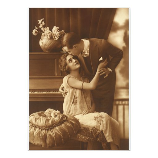 Amantes del vintage, música romántica romántica invitación personalizada