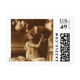 Amantes del vintage, música romántica romántica sello postal