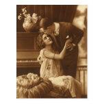 Amantes del vintage, música romántica romántica postal