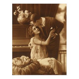 Amantes del vintage, música romántica romántica tarjetas postales