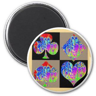 Amantes determinados de la pintada del póker imán redondo 5 cm