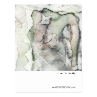 Amantes en el cielo tarjeta postal