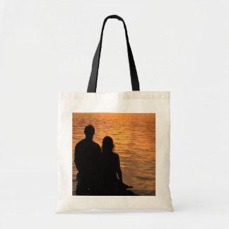 Amantes en el tote del lago sunset bolsa tela barata