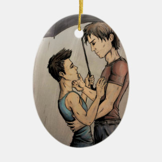 Amantes en la lluvia adorno navideño ovalado de cerámica