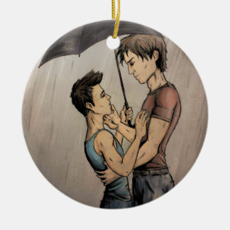 Amantes en la lluvia adorno navideño redondo de cerámica