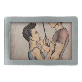 Amantes en la lluvia hebillas de cinturon rectangulares