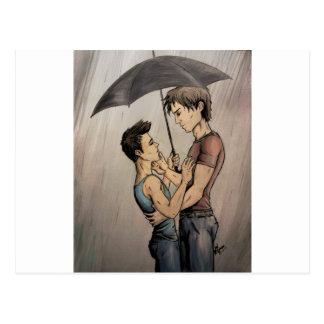 Amantes en la lluvia postal