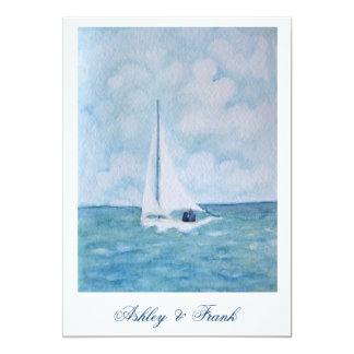 Amantes en un velero - invitación del boda
