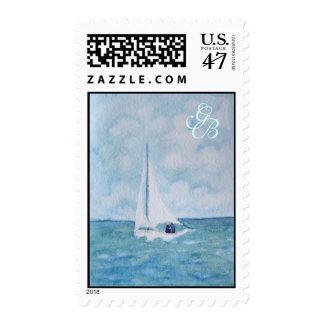 Amantes en un velero, sello