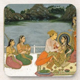 Amantes en una terraza por un lago iluminado por l posavaso