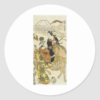 Amantes jovenes por las impresiones 1720 del arte pegatina redonda