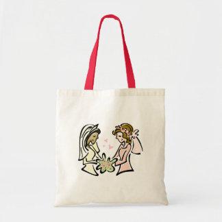 Amantes lesbianos interraciales bolsa tela barata