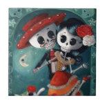 Amantes mexicanos esqueléticos muertos teja  ceramica