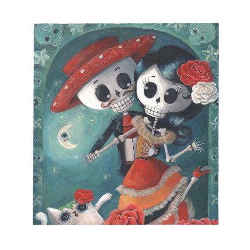 Amantes mexicanos esqueléticos muertos libretas para notas