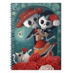 Amantes mexicanos esqueléticos muertos libreta